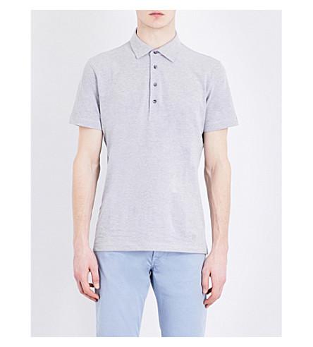 CORNELIANI Classic cotton-piqué polo shirt (Grey+marl