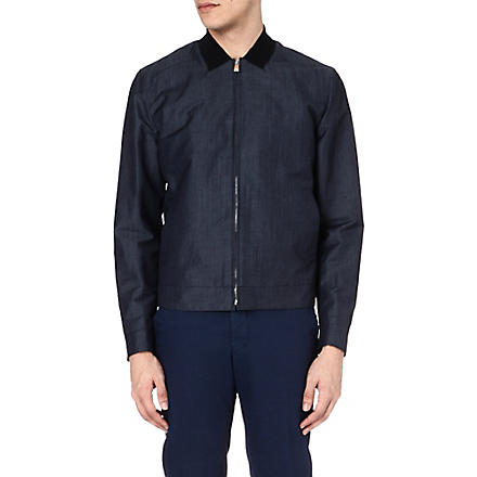 CORNELIANI Linen and wool-blend bomber jacket (Blue