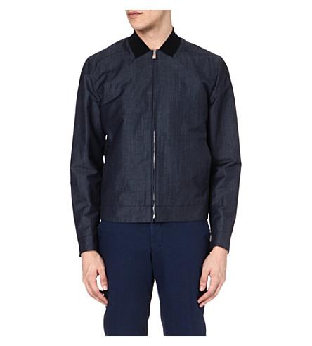 CORNELIANI Linen and wool-blend bomber jacket (Blue
