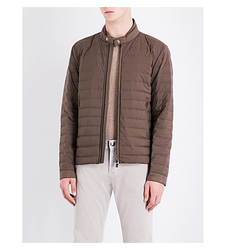 CORNELIANI Stand-collar quilted shell jacket (Khaki