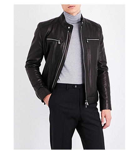 CORNELIANI Stand-collar grained leather jacket (Black