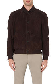 CORNELIANI Suede stand-collar jacket