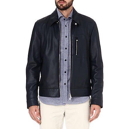 CORNELIANI Leather bomber jacket (Navy