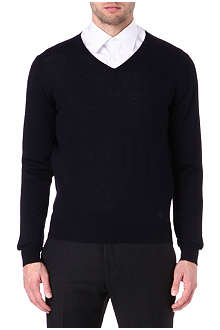 CORNELIANI Marl v-neck jumper