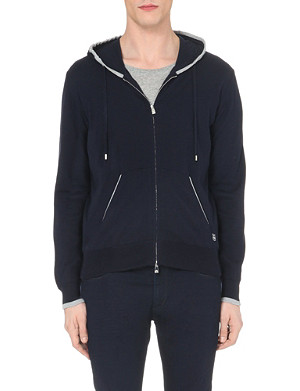 CORNELIANI Zipped knitted cotton hoody