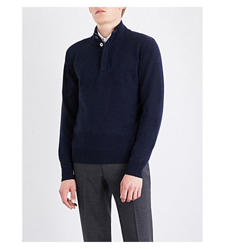 CORNELIANI Stand collar knitted jumper (Navy