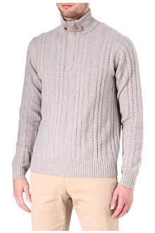 CORNELIANI Cable knit cashmere-blend jumper