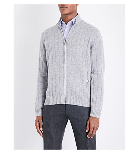 CORNELIANI Cable-knit wool and cashmere-blend jumper (Lt+grey