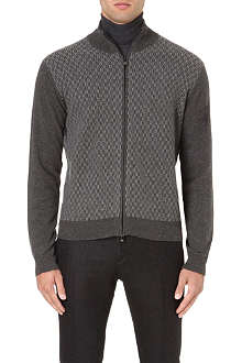 CORNELIANI Geometric pattern wool-blend cardigan
