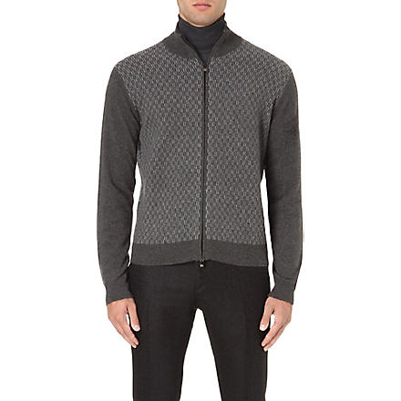 CORNELIANI Geometric pattern wool-blend cardigan (Grey