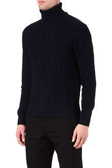 CORNELIANI Roll-neck cable-knit jumper