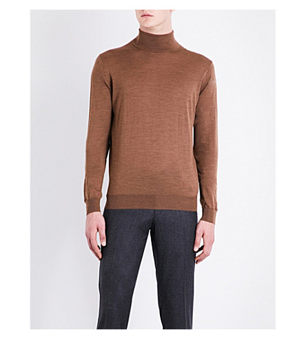 CORNELIANI Turtleneck wool jumper (Camel