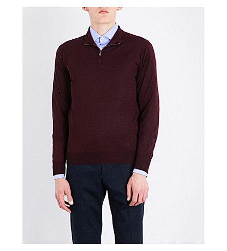CORNELIANI Fine-knit wool jumper (Bordeux
