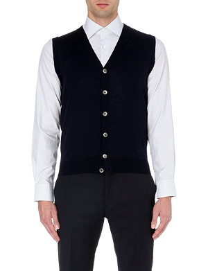 CORNELIANI Sleeveless extra-fine merino wool cardigan
