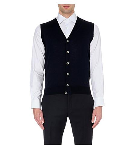 CORNELIANI Sleeveless extra-fine merino wool cardigan (Navy