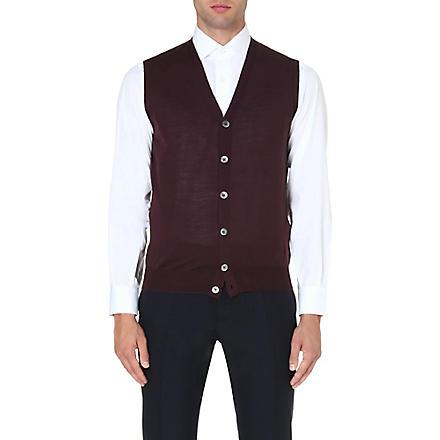 CORNELIANI Sleeveless extra-fine merino wool cardigan (Pinot