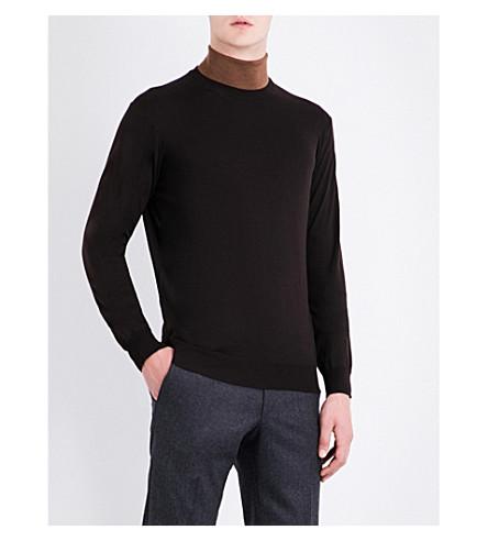 CORNELIANI Crewneck wool jumper (Brown