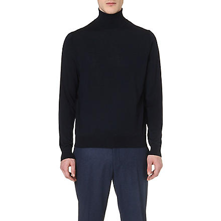 CORNELIANI Roll-neck merino wool jumper (Navy