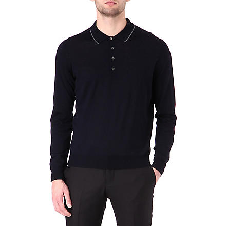 CORNELIANI Wool polo shirt (Navy
