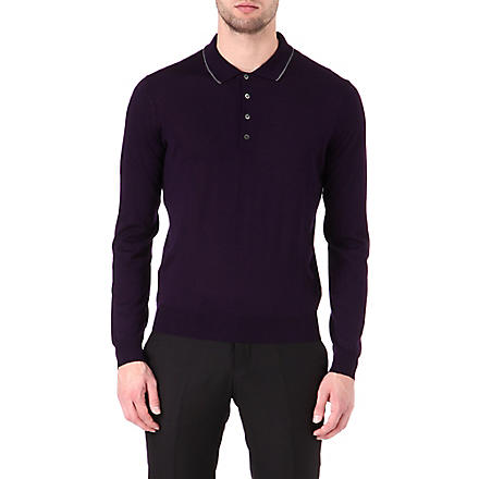 CORNELIANI Wool polo shirt (Purple