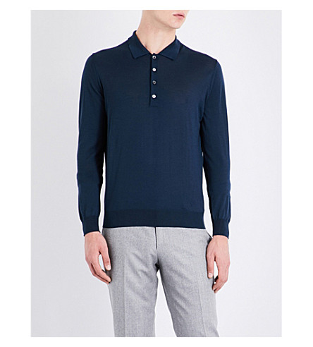 CORNELIANI Slim-fit merino wool polo shirt (Blue