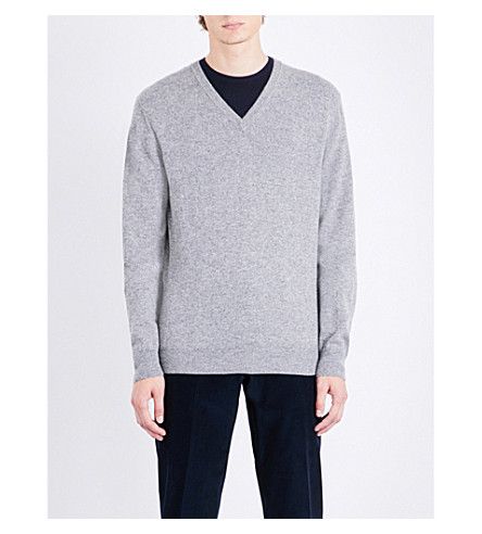 CORNELIANI V-neck cashmere jumper (Grey