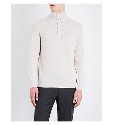 CORNELIANI Stand-collar cashmere jumper (Lt+beige