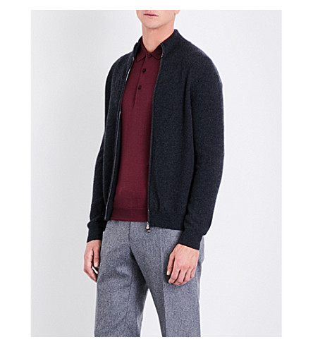 CORNELIANI Zip-up cashmere cardigan (Char