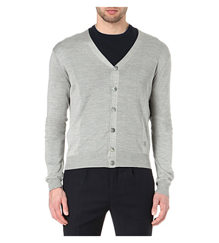 CORNELIANI Silk-blend cardigan (Grey