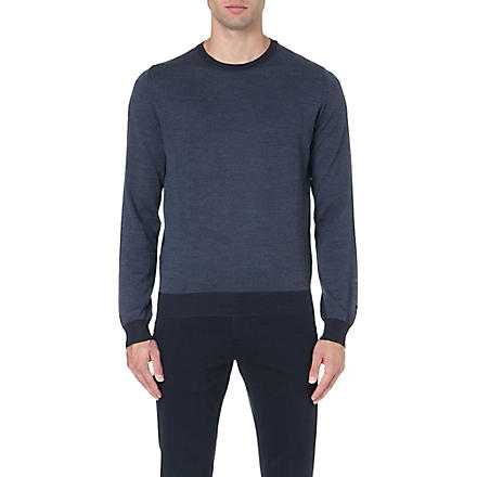CORNELIANI Contrast-trim wool jumper (Blue