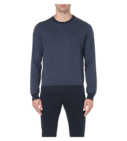CORNELIANI Contrast-trim wool jumper (Blue