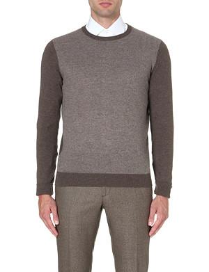 CORNELIANI Contrast-front cashmere jumper