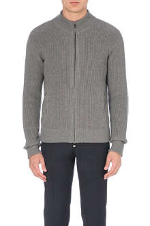 CORNELIANI Ribbed-knit wool cardigan