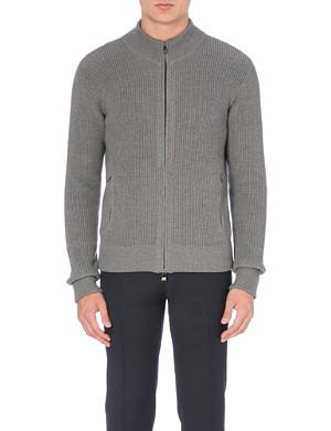 CORNELIANI Ribbed-knit wool cardigan
