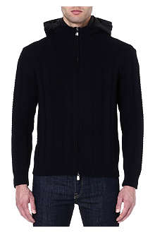 CORNELIANI Detachable-hood knitted jacket