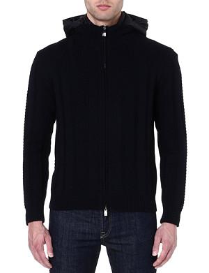 CORNELIANI Detachable-hood knitted jacket