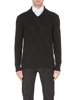 CORNELIANI Diamond pattern wool jumper