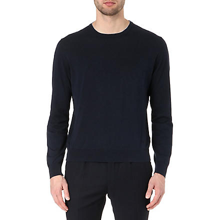 CORNELIANI Knitted crew-neck jumper (Navy