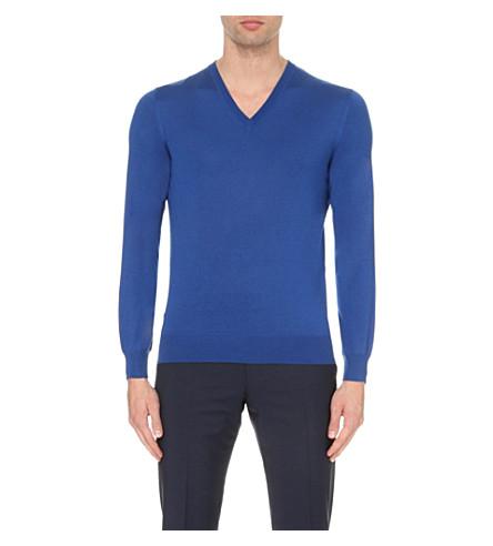 CORNELIANI V-neck cashmere and silk-blend sweater (Cadet+blue