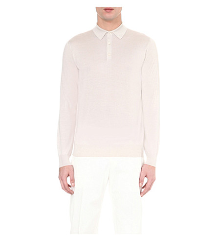 CORNELIANI Cashmere and silk-blend polo sweater (Beige