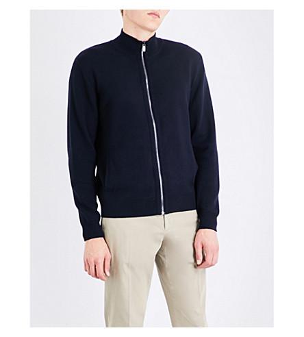 CORNELIANI Stand-collar fine-knit sweater (Navy