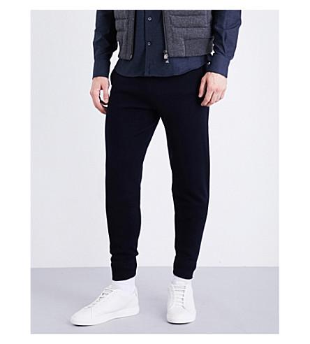 CORNELIANI Regular-fit skinny wool-blend jogging bottoms (Navy