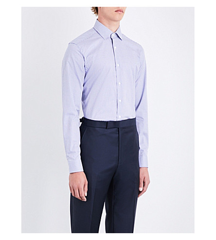 CORNELIANI Micro houndstooth-pattern slim-fit cotton shirt (Navy