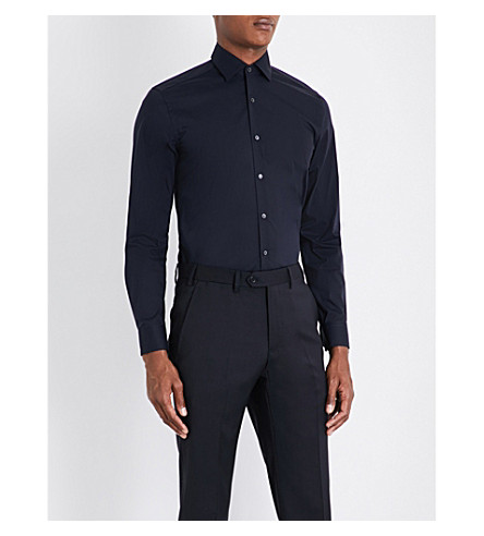 CORNELIANI Slim-fit cotton-blend shirt (Navy