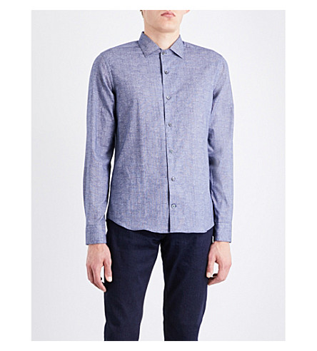 CORNELIANI Textured slim-fit cotton shirt (Blue