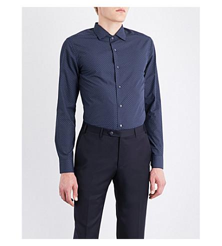 CORNELIANI ID micro floral-patterned slim-fit cotton shirt (Navy
