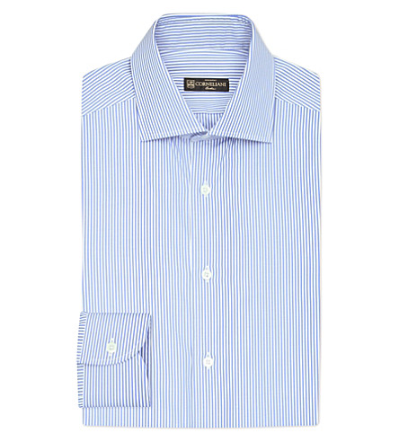 CORNELIANI Regular-fit striped cotton shirt (Blue