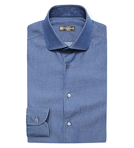 CORNELIANI Slim-fit cotton denim shirt (Denim