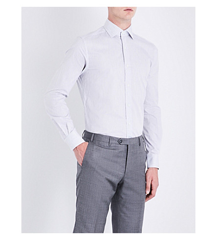CORNELIANI Striped regular-fit cotton shirt (Grey