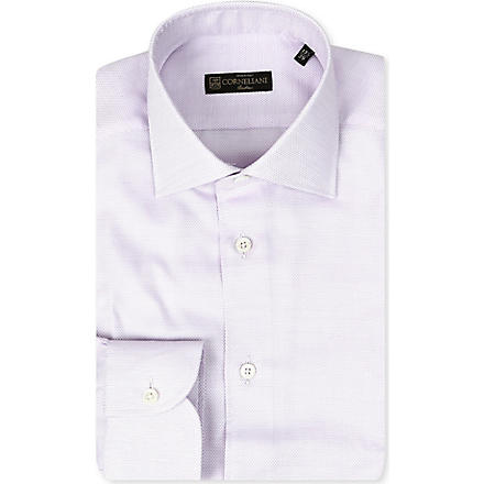 CORNELIANI Spread-collar single-cuff shirt (Violet